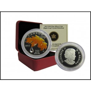 2012 $20 Fines Silver Coin Royal Canadian Mint Maple Leaf with Crystal Raindrop