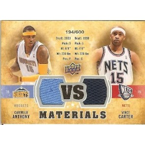 2009-10 Upper Deck Dual Materials Carmelo Anthony Vince Carter 194/600 2 Color
