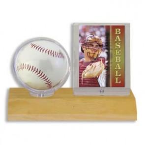 Ultra Pro Ball & Card Holder Light Wood