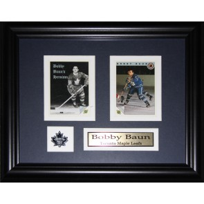Bob Baun Double Card Framed with Matting, Plaque and Collector Pin