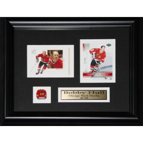 Bobby Hull Double Card Framed with Matting, Plaque and Collector Pin