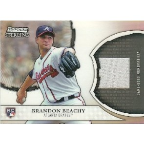 2011 Bowman Sterling Brandon Beachy Refractor Relic Card