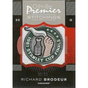 2007-08 O-Pee-Chee OPC Premier Richard Brodeur Premier Stitchings 36/99