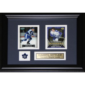 Darryl Sittler  Double Card Framed with Matting, Plaque and Collector Pin