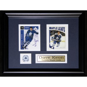 Dave Keon  Double Card Framed with Matting, Plaque and Collector Pin