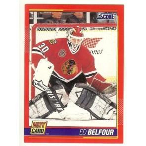 """1991-92 Score ED BELFOUR 'Hot Card"""" Insert # 9 of 10 BLACK HAWKS"""