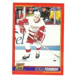 "1991-92 Score SERGEI FEDOROV 'Hot Card"" Insert # 4 of 10 DETROIT RED WINGS"