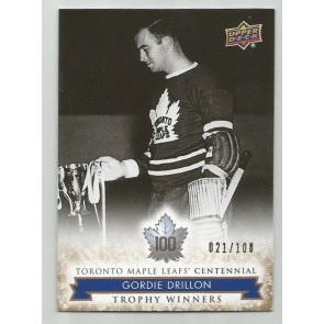 2017 UD MAPLE LEAFS CENTENNIAL GOLD #111 Gordie Drillon #21/100 Rare Hi Number
