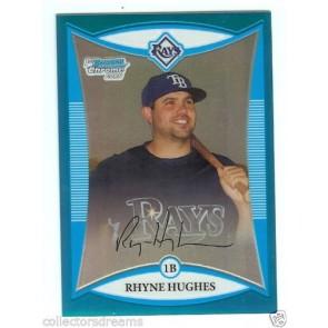 2008 Bowman Chrome RHYNE HUGHES Blue Refractor RC #127/150 Card # BCP207 RAYS