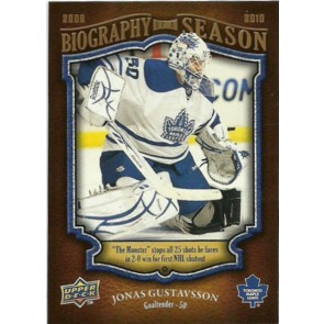 2009-10 Upper Deck Biography of a Season Jonas Gustavsson Card# BOS-17