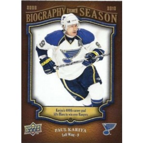 2009-10 Upper Deck Biography of a Season Paul Kariya Card# BOS-27