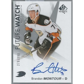 2016-17 SP AUTHENTIC FUTURE WATCH BRANDON MONTOUR AUTOGRAPH RC 278/999