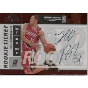 2009-10 Panini Playoff Contenders Jeff Pendergraph Rookie Ticket Autograph