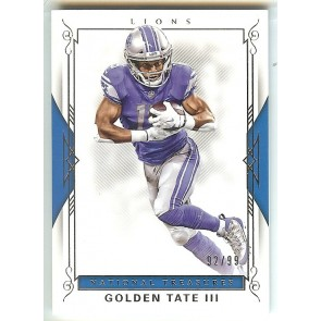 2017 Panini National Treasures Golden Tate III Base Single #'d 92/99 Card #43 Detroit Lions