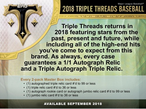 2018 Topps Triple Threads Baseball Hobby Edition Factory Sealed 2 Pack Box