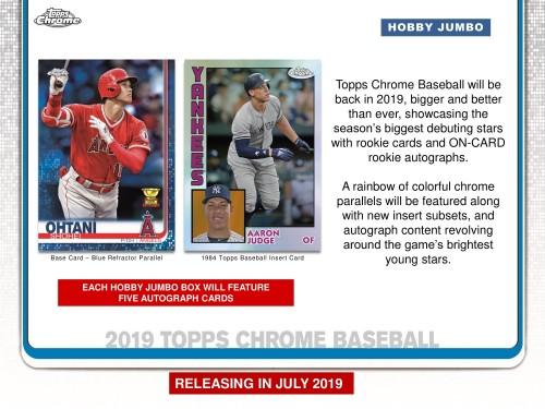 2019 Topps Chrome Baseball Jumbo Hobby Box Factory Sealed -  PREORDER