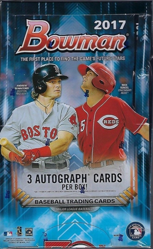 2017 BOWMAN BASEBALL JUMBO HOBBY BOX SEALED NEW 3 AUTO'S