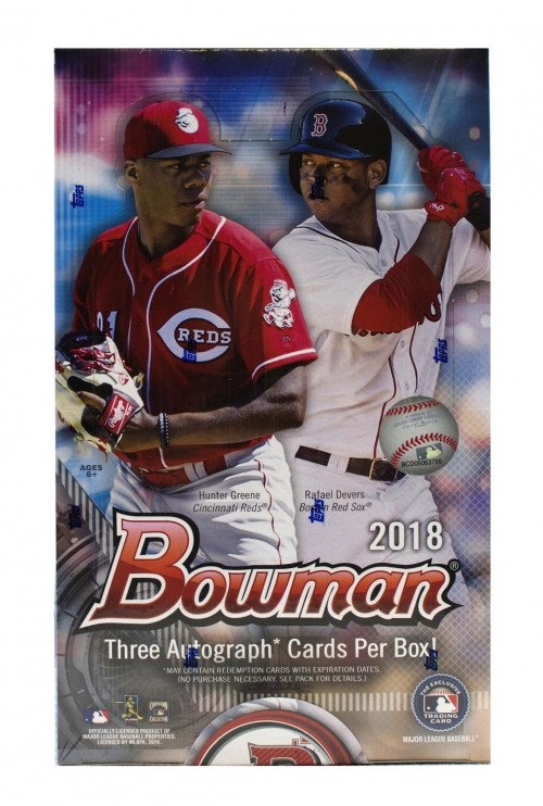 2018 Bowman Baseball Factory Sealed HTA Jumbo Box - 3 Autos Per Box