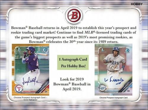 2019 Bowman Baseball Hobby Box Factory Sealed - Presell