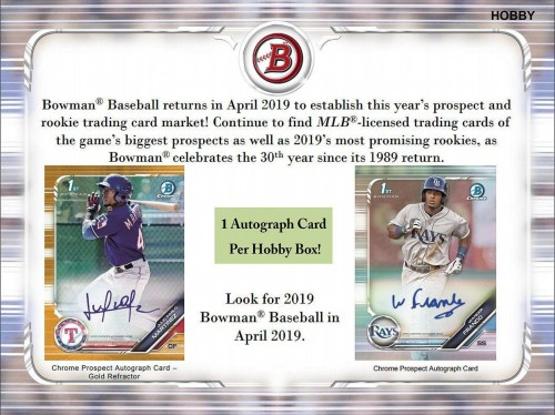 2019 Bowman Baseball Hobby Jumbo Box Factory Sealed - Presell