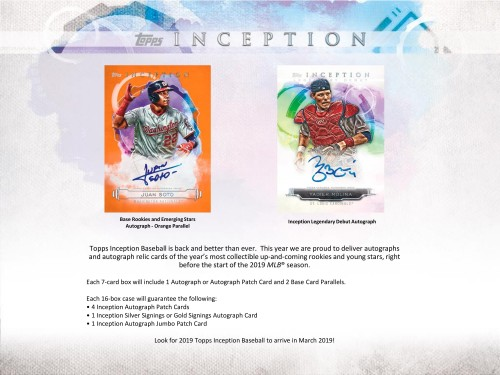 2019 Topps Inception Baseball Box Factory Sealed -  PREORDER