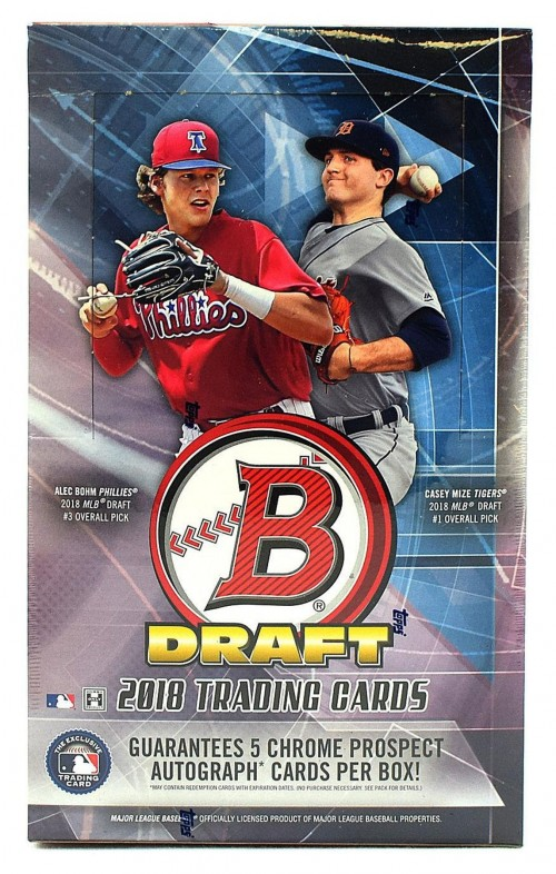 2018 Bowman Draft Baseball Hobby Super Jumbo Box - 5 Autographs