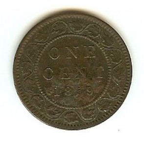 1859 Canadian Large Penny Queen Victoria Bronze One Cent Coin