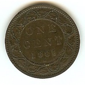 1881H Canadian Large Penny Queen Victoria Bronze One Cent Coin