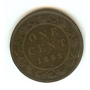 1882 H Canadian Large Penny Queen Victoria Bronze One Cent Coin