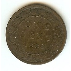 1888 Canadian Large Penny Queen Victoria Bronze One Cent Coin