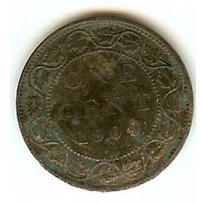 1900 H Canadian Large Penny Queen Victoria Bronze One Cent Coin