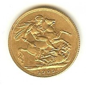 1909 GOLD SOVEREIGN GREAT BRITAIN, 8 GRAMS