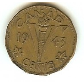 1943 Canada 5 Cents Tombac Victory Nickel World War 2