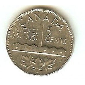 1951 (First Canadian Commemorative Nickel) Canada Five Cent 1751-1951