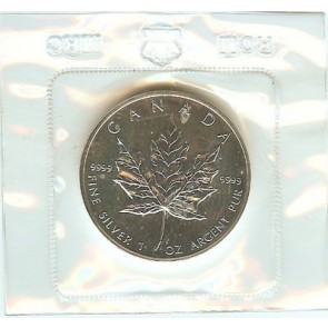 1990 CANADA Canadian MAPLE LEAF Sealed from ROYAL MINT .9999 BU SILVER Coin 1 oz