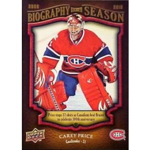 2009-10 Upper Deck Carey Price Biography of a Season