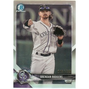 2018 Bowman Chrome Brendan Rodgers Refractor #'d 205/499 BCP43 Rockies