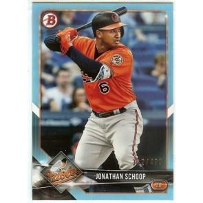 2018 Bowman Jonathan Schoop Sky Blue Baltimore Orioles #'d 312/499 Card #95
