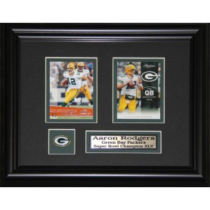 Aaron Rogers Double Card Framed with Matting, Plaque and Collector Pin