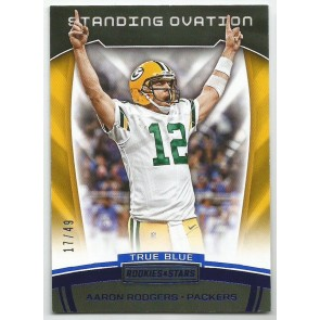 2017 PANINI ROOKIE & STARS AARON RODGERS STANDING OVATION BLUE 17/49 CARD #18