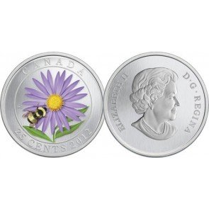 2012 Aster and Bumble Bee Colorized 25-Cent Coin