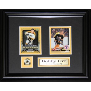 Bobby Orr  Double Card Framed with Matting, Plaque and Collector Pin