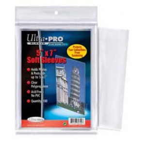 "Ultra Pro 5"" x 7""  Sleeves 100 Pack"