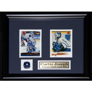 Curtis Joseph Double Card Framed with Matting, Plaque and Collector Pin