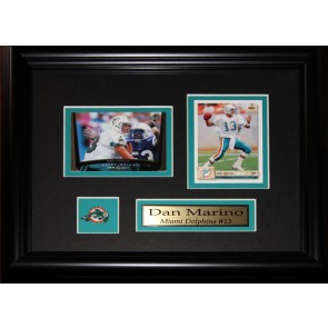 Dan Marino Double Card Framed with Matting, Plaque and Collector Pin