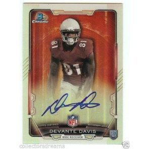 2015 Bowman Chrome RC Refractor Auto RCRA-DD Devante Davis - Philadelphia Eagles