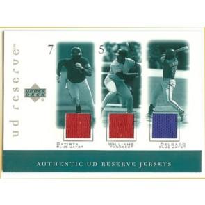 2001 Upper Deck Reserve Carlos Delgado Authetic UD Reserve Jerseys Triple w/ Batista - Williams