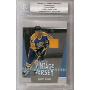 2003-04 Upper Deck Be A Player Marcel Dionne Ultimate Memorabilia 4th Edition Ultimate Jersey Beckett 05/40