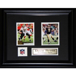 Drew Brees  Double Card Framed with Matting, Plaque and Collector Pin