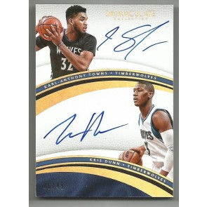 2016-17 Immaculate Karl-Anthony Towns / Kris Dunn Dual Auto Gold Foil #06/49